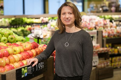 Amy Gorin at the produce section of The Price Chopper in Storrs on Sept. 30, 2014. (Peter Morenus/UConn Photo)